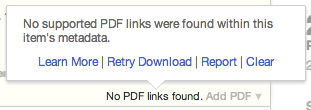 PDF no links found